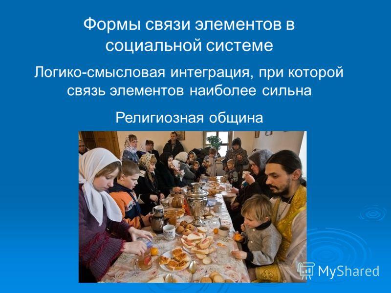 Формы связи элементов в социальной системе Логико-смысловая интеграция, при которой связь элементов наиболее сильна Религиозная община