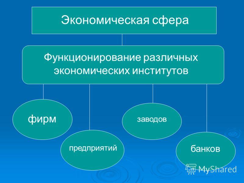 Экономическая сфера Функционирование различных экономических институтов фирм предприятий заводов банков