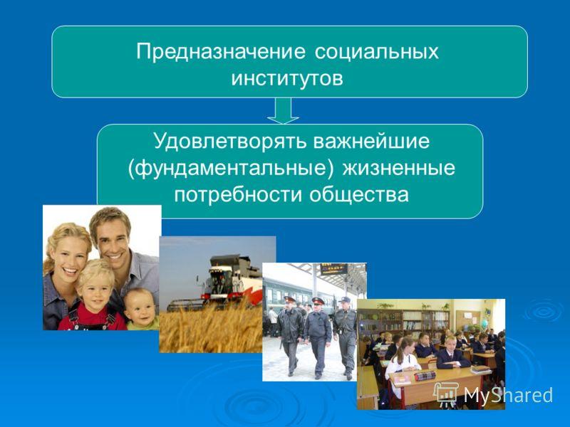 Предназначение социальных институтов Удовлетворять важнейшие (фундаментальные) жизненные потребности общества