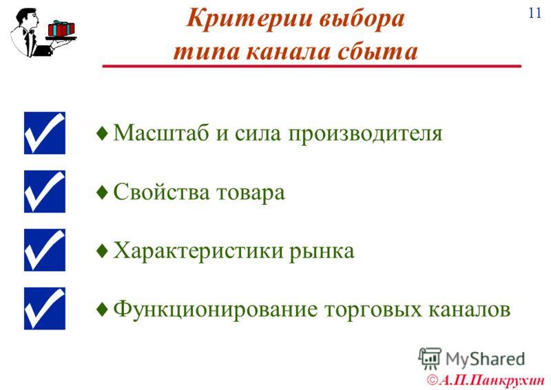 11 А.П.Панкрухин Критерии выбора типа канала сбыта Масштаб и сила производителя Свойства товара Характеристики рынка Функционирование торговых каналов