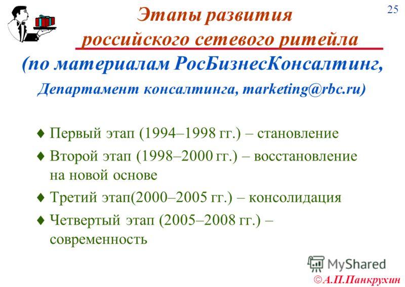 25 А.П.Панкрухин Этапы развития российского сетевого ритейла (по материалам РосБизнесКонсалтинг, Департамент консалтинга, marketing@rbc.ru) Первый этап (1994–1998 гг.) – становление Второй этап (1998–2000 гг.) – восстановление на новой основе Третий