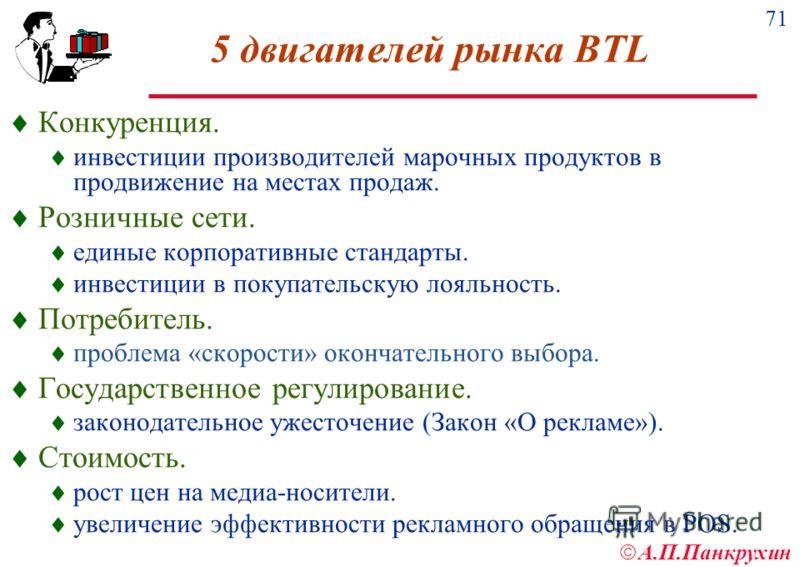 71 А.П.Панкрухин 5 двигателей рынка BTL Конкуренция. инвестиции производителей марочных продуктов в продвижение на местах продаж. Розничные сети. единые корпоративные стандарты. инвестиции в покупательскую лояльность. Потребитель. проблема «скорости»