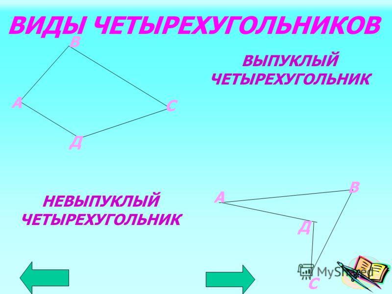 четырехугольник Четырехугольником называется фигура, которая состоит из четырех точек, не лежащих на одной прямой, и четырех отрезков последовательно соединяющих их отрезков. Данные точки – вершины; соединяющие их отрезки - стороны. В диагонали С А О