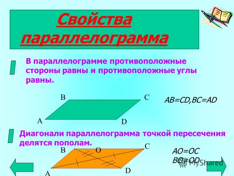 Параллелограмм Параллелограмм- это четырехугольник, у которого противоположные стороны попарно параллельны. А В С D О диагонали