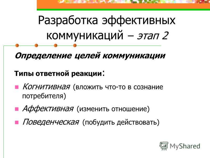 Разработка эффективных коммуникаций – этап 2 Определение целей коммуникации Типы ответной реакции : Когнитивная (вложить что-то в сознание потребителя) Аффективная (изменить отношение) Поведенческая (побудить действовать)