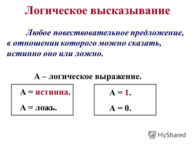 Логическое высказывание Любое повествовательное предложение, в отношении которого можно сказать, истинно оно или ложно. А – логическое выражение. А = истинна. А = ложь. А = 1. А = 0.