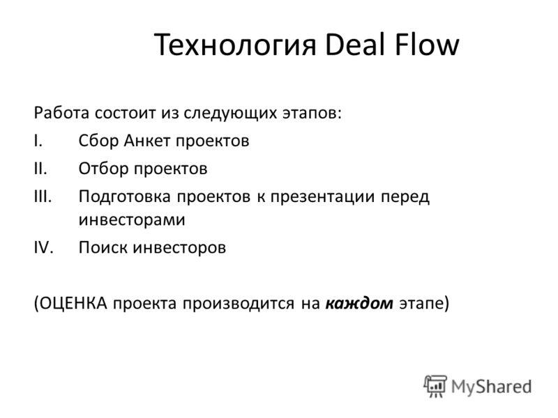 Технология Deal Flow Работа состоит из следующих этапов: I.Сбор Анкет проектов II.Отбор проектов III.Подготовка проектов к презентации перед инвесторами IV.Поиск инвесторов (ОЦЕНКА проекта производится на каждом этапе)
