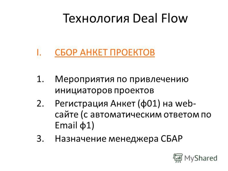 Технология Deal Flow I.СБОР АНКЕТ ПРОЕКТОВ 1.Мероприятия по привлечению инициаторов проектов 2.Регистрация Анкет (ф01) на web- сайте (с автоматическим ответом по Email ф1) 3.Назначение менеджера СБАР