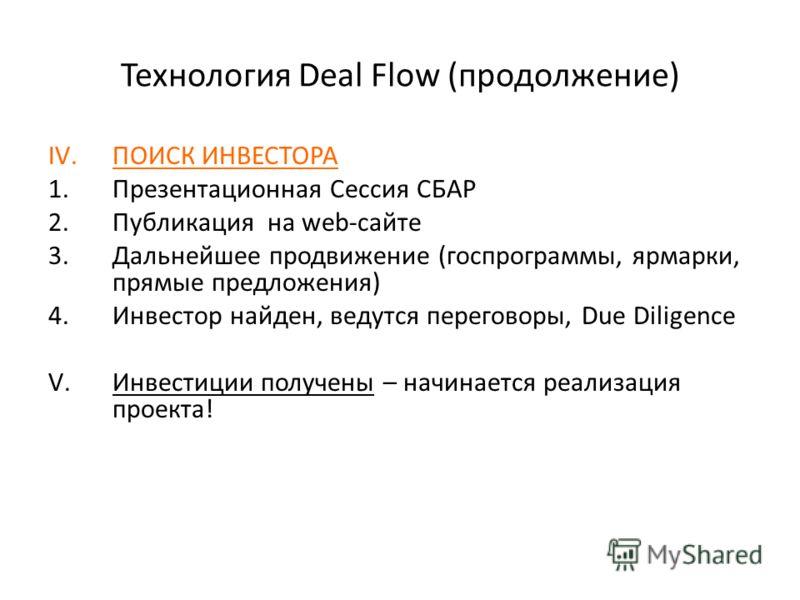 Технология Deal Flow (продолжение) IV.ПОИСК ИНВЕСТОРА 1.Презентационная Сессия СБАР 2.Публикация на web-сайте 3.Дальнейшее продвижение (госпрограммы, ярмарки, прямые предложения) 4.Инвестор найден, ведутся переговоры, Due Diligence V.Инвестиции получ