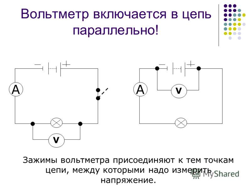 Вольтметр включается в цепь параллельно! V A V A Зажимы вольтметра присоединяют к тем точкам цепи, между которыми надо измерить напряжение.