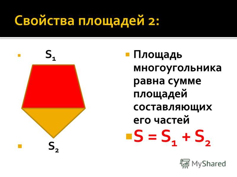 S 1 S 2 Площадь многоугольника равна сумме площадей составляющих его частей S = S 1 + S 2