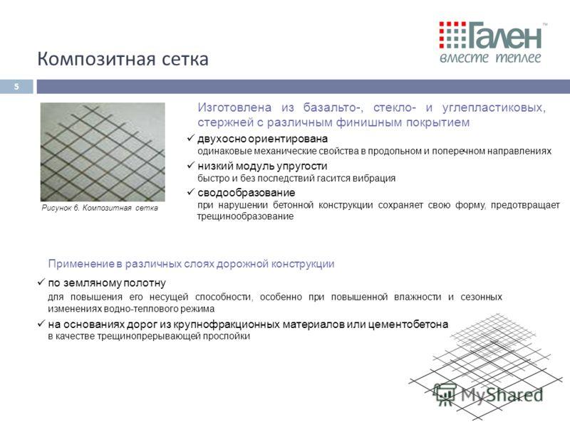 Рисунок 6. Композитная сетка Применение в различных слоях дорожной конструкции по земляному полотну для повышения его несущей способности, особенно при повышенной влажности и сезонных изменениях водно-теплового режима на основаниях дорог из крупнофра