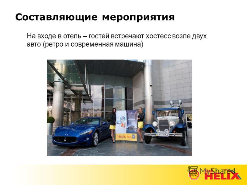 Составляющие мероприятия На входе в отель – гостей встречают хостесс возле двух авто (ретро и современная машина)