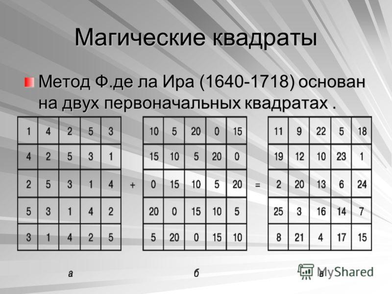 Магические квадраты Метод Ф.де ла Ира (1640-1718) основан на двух первоначальных квадратах.