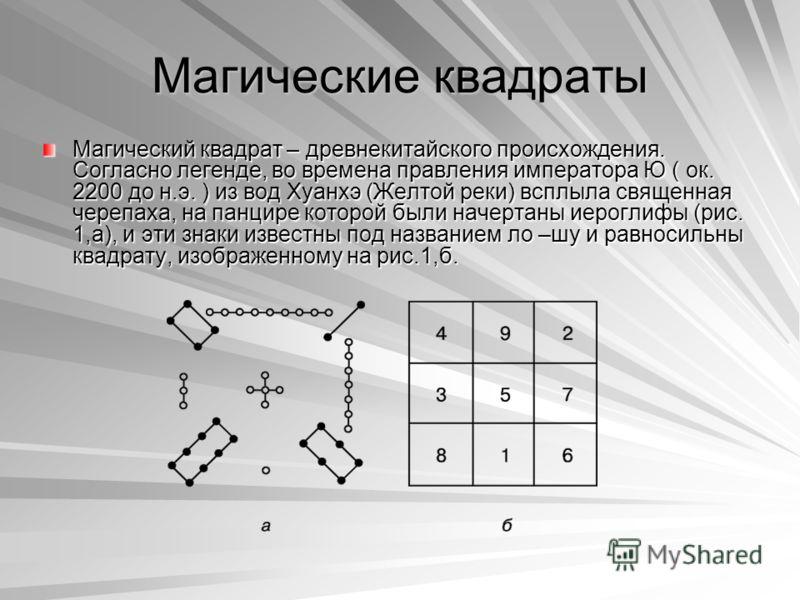 Магические квадраты Магический квадрат – древнекитайского происхождения. Согласно легенде, во времена правления императора Ю ( ок. 2200 до н.э. ) из вод Хуанхэ (Желтой реки) всплыла священная черепаха, на панцире которой были начертаны иероглифы (рис