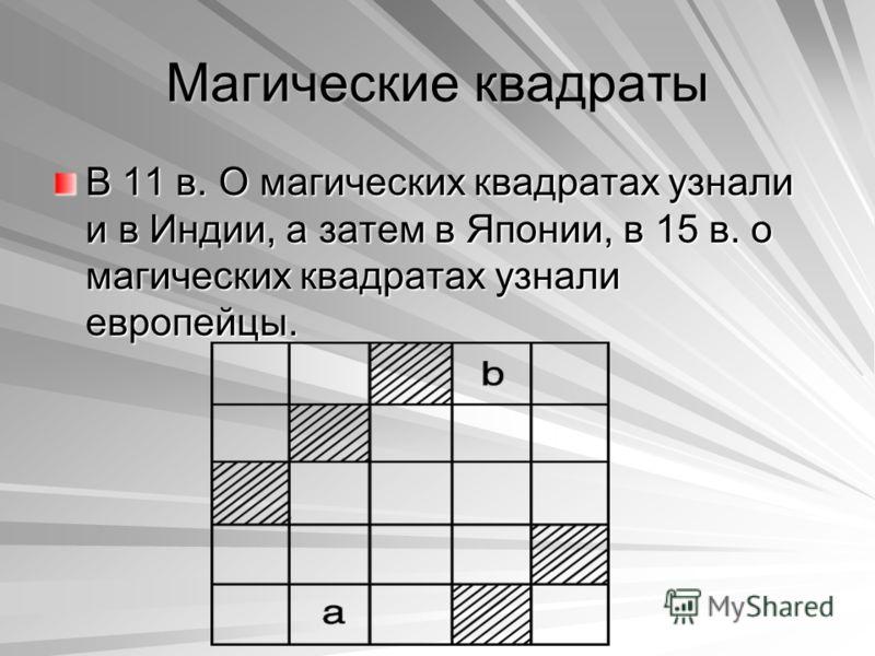 Магические квадраты В 11 в. О магических квадратах узнали и в Индии, а затем в Японии, в 15 в. о магических квадратах узнали европейцы.