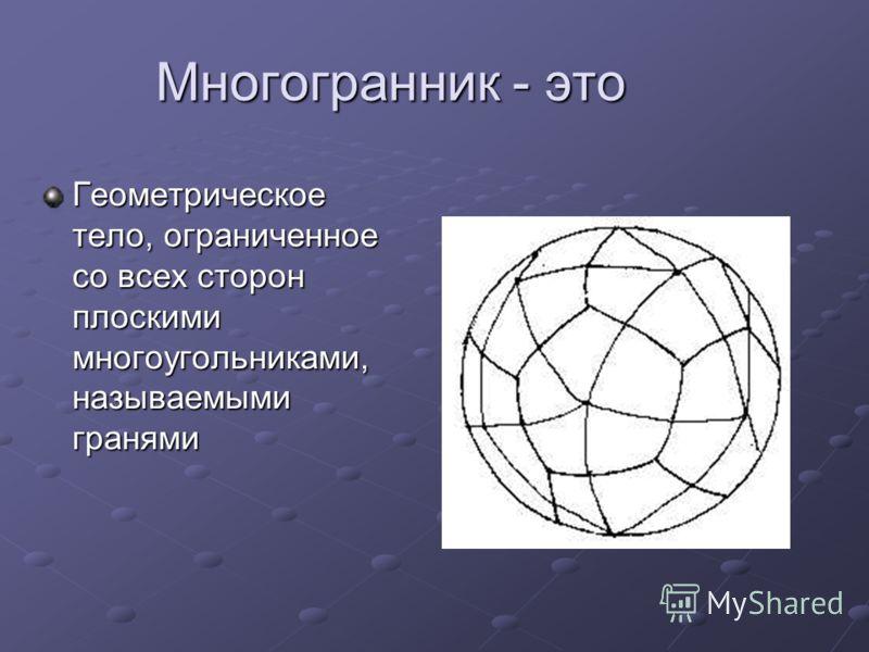 Многогранник - это Геометрическое тело, ограниченное со всех сторон плоскими многоугольниками, называемыми гранями