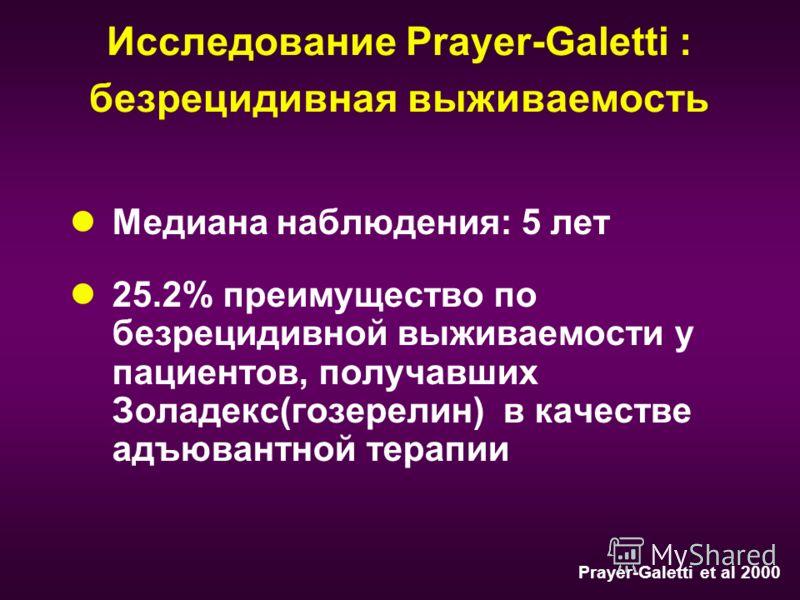 Исследование Prayer-Galetti : безрецидивная выживаемость Медиана наблюдения: 5 лет 25.2% преимущество по безрецидивной выживаемости у пациентов, получавших Золадекс(гозерелин) в качестве адъювантной терапии Prayer-Galetti et al 2000
