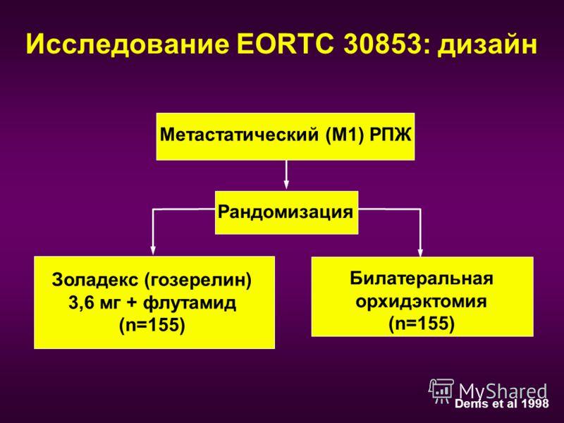 Исследование EORTC 30853: дизайн Mетастатический (M1) РПЖ Рандомизация Золадекс (гозерелин) 3,6 мг + флутамид (n=155) Билатеральная орхидэктомия (n=155) Denis et al 1998