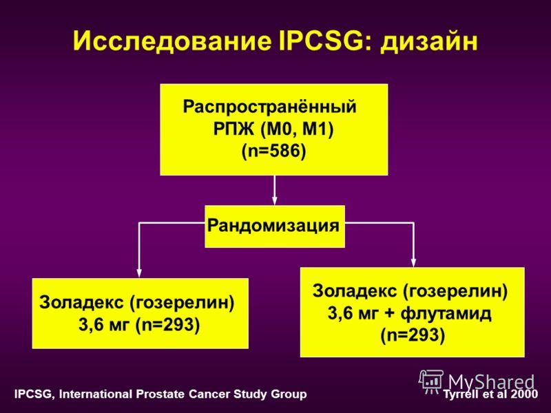 Исследование IPCSG: дизайн Распространённый РПЖ (M0, M1) (n=586) Рандомизация Золадекс (гозерелин) 3,6 мг (n=293) Золадекс (гозерелин) 3,6 мг + флутамид (n=293) Tyrrell et al 2000 IPCSG, International Prostate Cancer Study Group