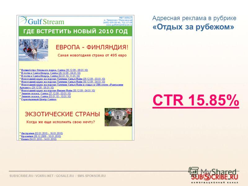 SUBSCRIBE.RU / VOXRU.NET / GOSALE.RU / SMS-SPONSOR.RU Адресная реклама в рубрике «Отдых за рубежом» CTR 15.85%