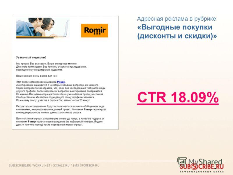 SUBSCRIBE.RU / VOXRU.NET / GOSALE.RU / SMS-SPONSOR.RU Адресная реклама в рубрике «Выгодные покупки (дисконты и скидки)» CTR 18.09%