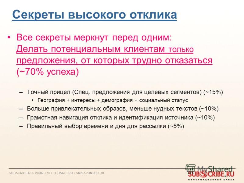 SUBSCRIBE.RU / VOXRU.NET / GOSALE.RU / SMS-SPONSOR.RU Секреты высокого отклика Все секреты меркнут перед одним: Делать потенциальным клиентам только предложения, от которых трудно отказаться (~70% успеха) –Точный прицел (Спец. предложения для целевых