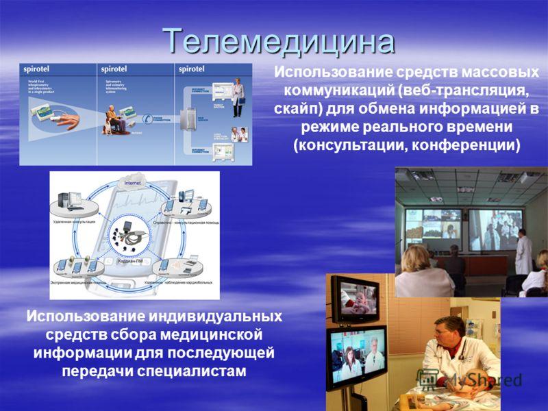 Телемедицина Использование индивидуальных средств сбора медицинской информации для последующей передачи специалистам Использование средств массовых коммуникаций (веб-трансляция, скайп) для обмена информацией в режиме реального времени (консультации,