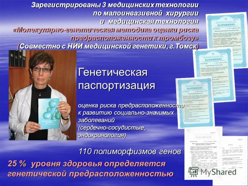 Зарегистрированы 3 медицинских технологии по малоинвазивной хирургии и медицинская технология «Молекулярно-генетическая методика оценки риска предрасположенности к тромбозу» (Совместно с НИИ медицинской генетики, г.Томск) Генетическая паспортизация о