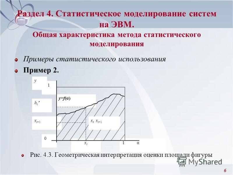 6 Раздел 4. Статистическое моделирование систем на ЭВМ. Общая характеристика метода статистического моделирования Примеры статистического использования Пример 2. Рис. 4.3. Геометрическая интерпретация оценки площади фигуры х i+1 хiхi у=f(α) 1 h i 0 α