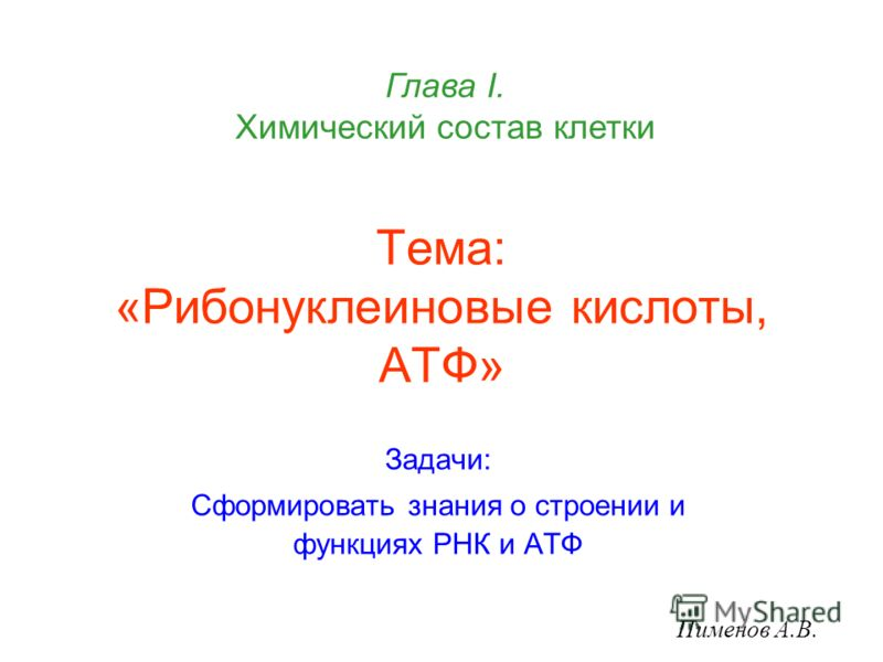 Тема: «Рибонуклеиновые кислоты, АТФ» Задачи: Сформировать знания о строении и функциях РНК и АТФ Пименов А.В. Глава I. Химический состав клетки