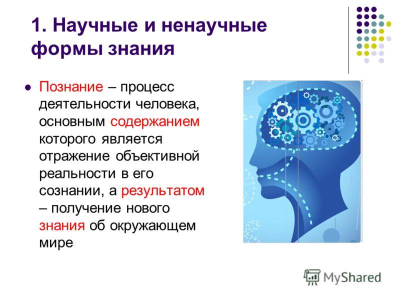1. Научные и ненаучные формы знания Познание – процесс деятельности человека, основным содержанием которого является отражение объективной реальности в его сознании, а результатом – получение нового знания об окружающем мире