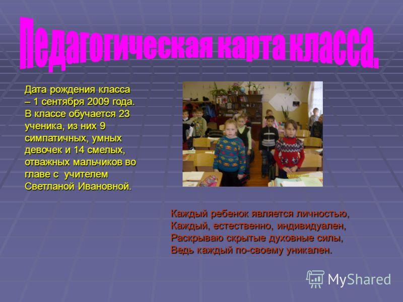 Дата рождения класса – 1 сентября 2009 года. В классе обучается 23 ученика, из них 9 симпатичных, умных девочек и 14 смелых, отважных мальчиков во главе с учителем Светланой Ивановной. Каждый ребенок является личностью, Каждый, естественно, индивидуа
