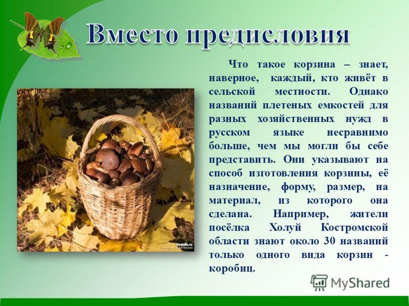 Что такое корзина – знает, наверное, каждый, кто живёт в сельской местности. Однако названий плетеных емкостей для разных хозяйственных нужд в русском языке несравнимо больше, чем мы могли бы себе представить. Они указывают на способ изготовления кор