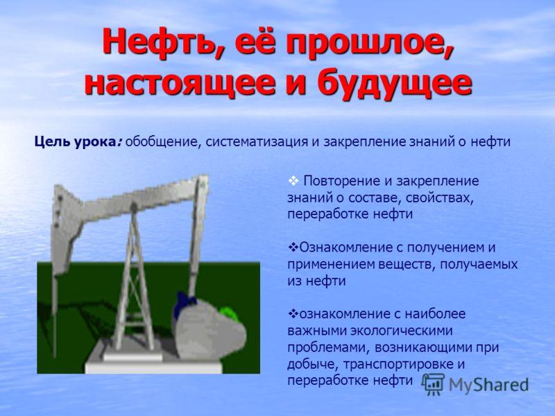 Нефть, её прошлое, настоящее и будущее Цель урока: обобщение, систематизация и закрепление знаний о нефти Повторение и закрепление знаний о составе, свойствах, переработке нефти Ознакомление с получением и применением веществ, получаемых из нефти озн