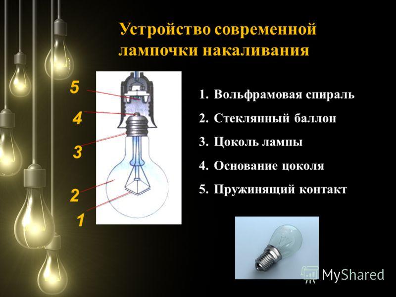 1.Вольфрамовая спираль 2.Стеклянный баллон 3.Цоколь лампы 4.Основание цоколя 5.Пружинящий контакт Устройство современной лампочки накаливания 2 1 3 4 5