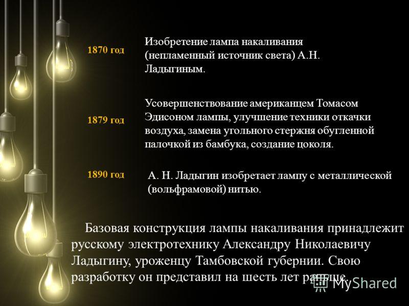 Усовершенствование американцем Томасом Эдисоном лампы, улучшение техники откачки воздуха, замена угольного стержня обугленной палочкой из бамбука, создание цоколя. Базовая конструкция лампы накаливания принадлежит русскому электротехнику Александру Н