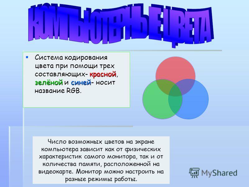 Система кодирования цвета при помощи трех составляющих- красной, зелёной и синей- носит название RGB. Система кодирования цвета при помощи трех составляющих- красной, зелёной и синей- носит название RGB. Число возможных цветов на экране компьютера за