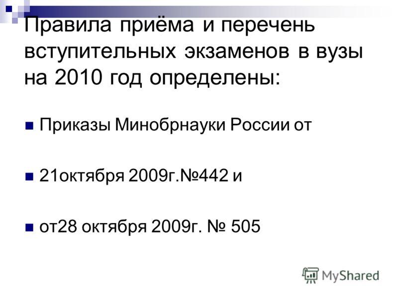 Правила приёма и перечень вступительных экзаменов в вузы на 2010 год определены: Приказы Минобрнауки России от 21октября 2009г.442 и от28 октября 2009г. 505