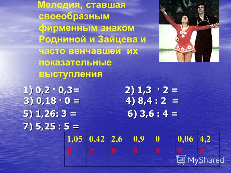 Мелодия, ставшая своеобразным фирменным знаком Родниной и Зайцева и часто венчавшей их показательные выступления 1) 0,2 · 0,3= 2) 1,3 · 2 = 3) 0,18 · 0 = 4) 8,4 : 2 = 1) 0,2 · 0,3= 2) 1,3 · 2 = 3) 0,18 · 0 = 4) 8,4 : 2 = 5) 1,26: 3 = 6) 3,6 : 4 = 5)