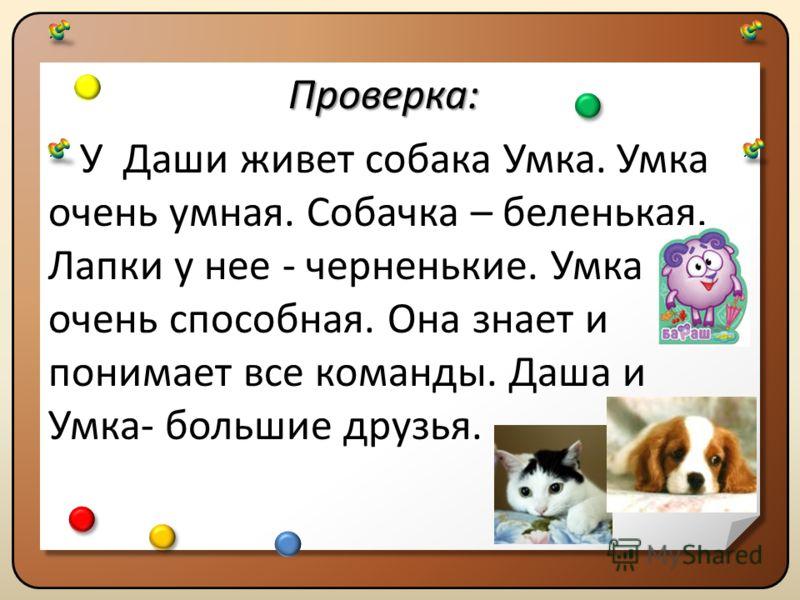 Проверка: У Даши живет собака Умка. Умка очень умная. Собачка – беленькая. Лапки у нее - черненькие. Умка очень способная. Она знает и понимает все команды. Даша и Умка- большие друзья.Проверка: