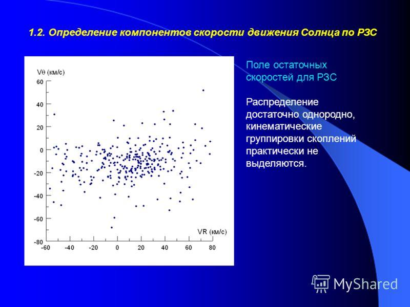 Поле остаточных скоростей для РЗС Распределение достаточно однородно, кинематические группировки скоплений практически не выделяются. 1.2. Определение компонентов скорости движения Солнца по РЗС