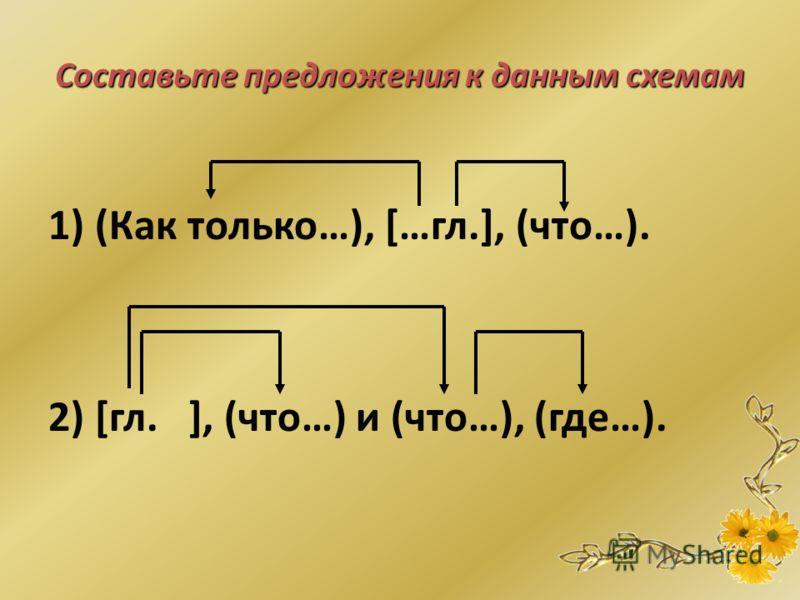 По данным схемам составьте предложения и запишите их охарактеризуйте союзы