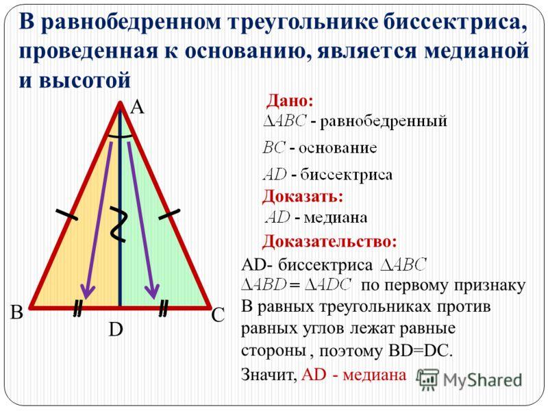В равных треугольниках против равных углов лежат равные стороны, поэтому BD=DC. В равнобедренном треугольнике биссектриса, проведенная к основанию, является медианой и высотой А В С Дано: Доказать: D Доказательство: AD- биссектриса по первому признак