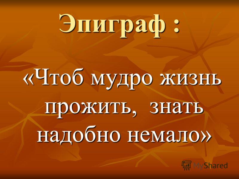 Эпиграф : «Чтоб мудро жизнь прожить, знать надобно немало» «Чтоб мудро жизнь прожить, знать надобно немало»