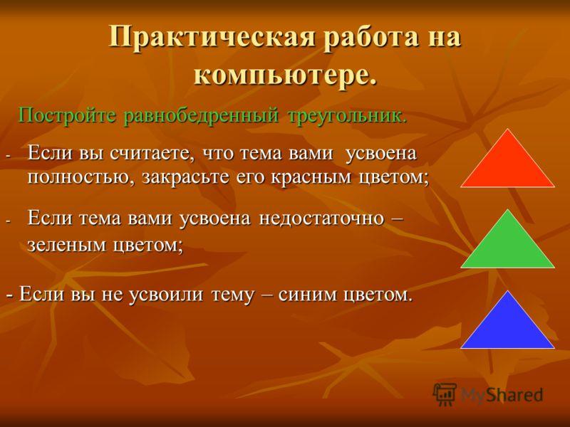 Практическая работа на компьютере. Постройте равнобедренный треугольник. Постройте равнобедренный треугольник. - Если вы считаете, что тема вами усвоена полностью, закрасьте его красным цветом; - Если тема вами усвоена недостаточно – зеленым цветом;