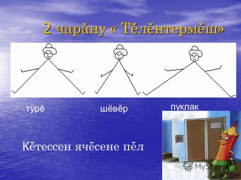 4 2 чарăну « Тĕлĕнтермĕш» 1 К ĕтессен ячĕсене пĕл тÿрĕтÿрĕшĕвĕршĕвĕр пуклак