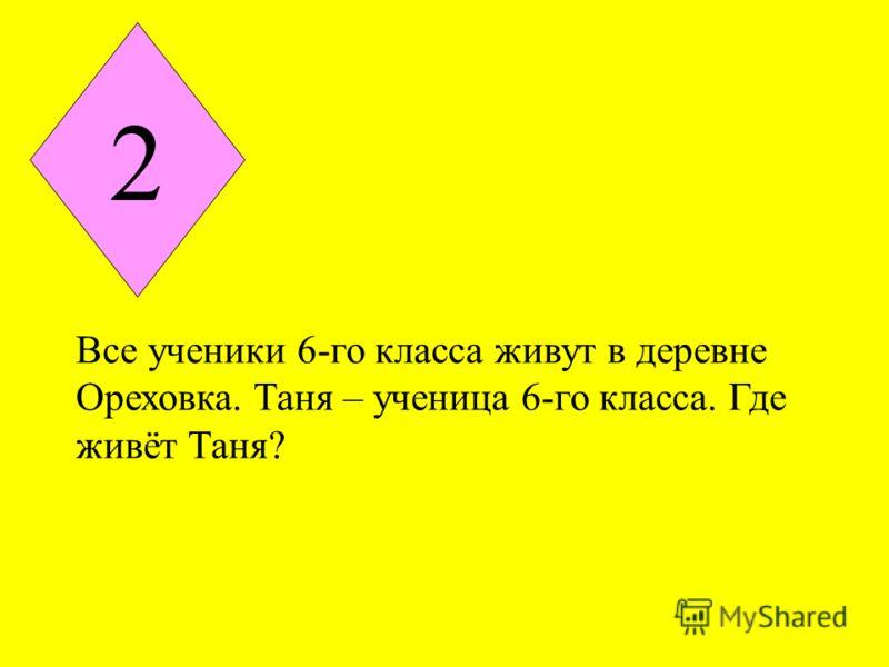 2 Все ученики 6-го класса живут в деревне Ореховка. Таня – ученица 6-го класса. Где живёт Таня?