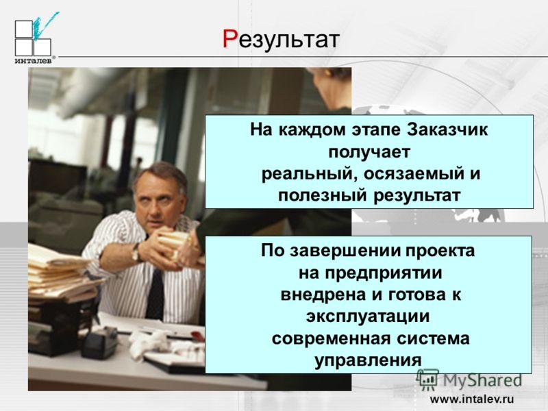 www.intalev.ru Р Результат На каждом этапе Заказчик получает реальный, осязаемый и полезный результат По завершении проекта на предприятии внедрена и готова к эксплуатации современная система управления
