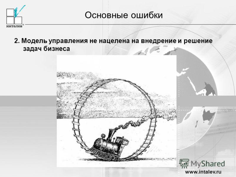www.intalev.ru Основные ошибки 2. Модель управления не нацелена на внедрение и решение задач бизнеса